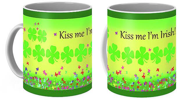 Kiss Me Im Irish Mugs  by Debbie Chamberlin