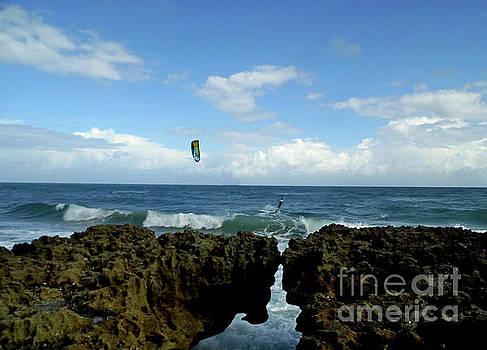 Kite Surfer At Blowing Rocks by D Hackett