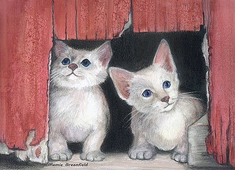 Kittens and Red Barn by Mamie Greenfield
