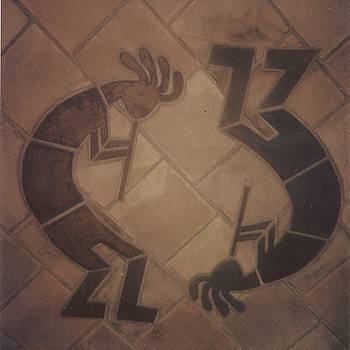 kokopelli Hand cut Tiles by Patrick Trotter