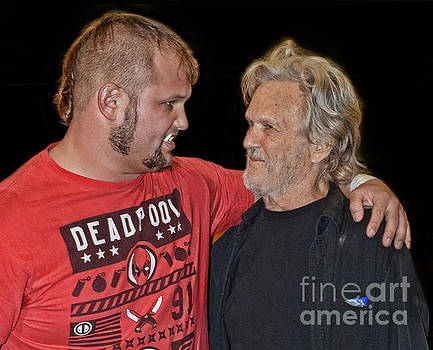 Kris Kristofferson and His Son Jody Sharing a Moment Before Jody's Fight for the World Title  by Jim Fitzpatrick