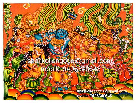 Krishan In Vrindhavan - Kerala Mural Painting by Shaji Kollengode