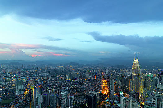 Kuala Lumpur City During Twilight Aerial View by Jit Lim