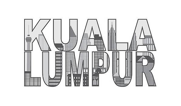 Kuala Lumpur Skyline Text Outline Illustration by Jit Lim