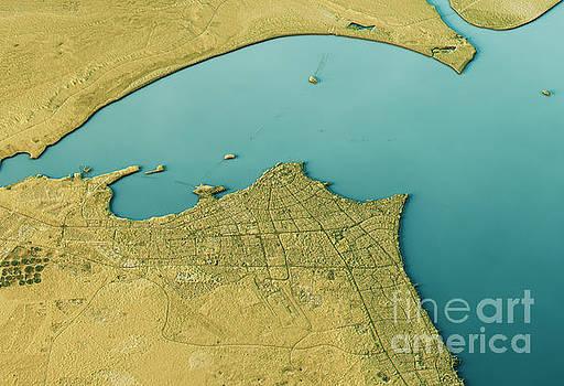 Kuwait City 3D Landscape View South-North Natural Color by Frank Ramspott