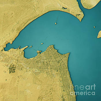 Kuwait City Topographic Map Natural Color Top View by Frank Ramspott