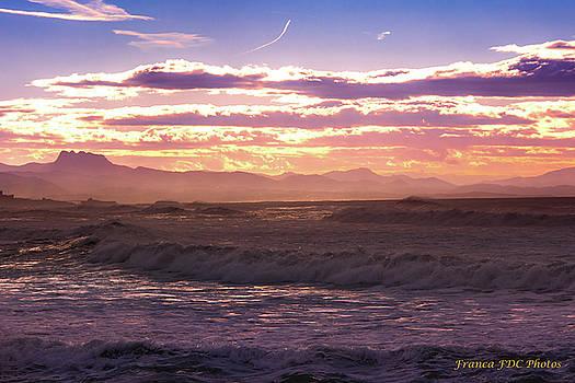 La Barre Anglet Beach on Sunset by Francoise Dugourd-Caput