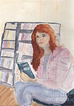 Lady in the Library Reading by Pamela  Meredith
