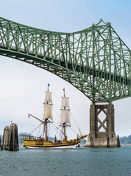 Lady Washington Under the McCullough Memorial Bridge by Kristal Talbot