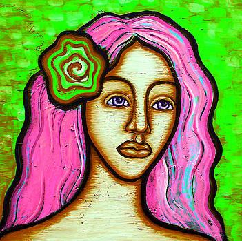Lady with Green Flower-Pink by Brenda Higginson
