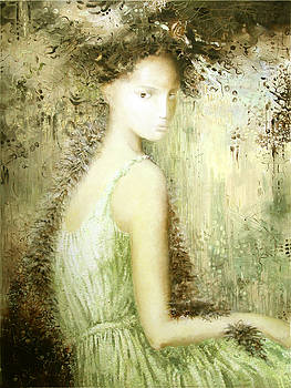 Lady with hidden salamanders by Lolita Bronzini