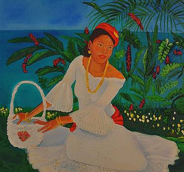 Lady with white creole lace dress Ocean view by Katia Creole Art