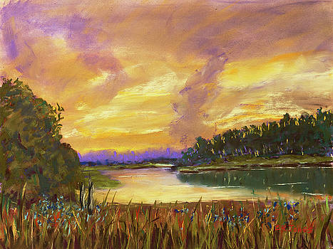 Lake Sunset - Pastel Painting by Barry Jones
