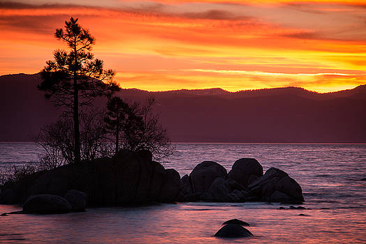 Lake Tahoe Sunset Colors by Steven Bateson
