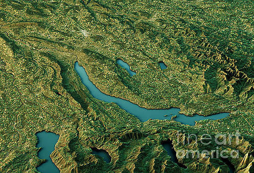 Lake Zurich 3D Landscape View South-North Natural Color by Frank Ramspott