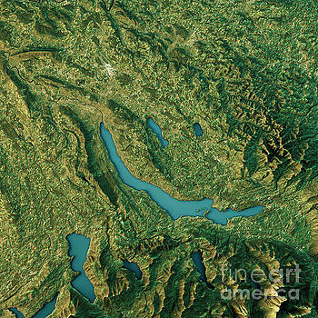 Lake Zurich Topographic Map Natural Color Top View by Frank Ramspott