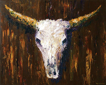 Large Cow Skull Acrylic Palette Knife Painting by Mark Webster