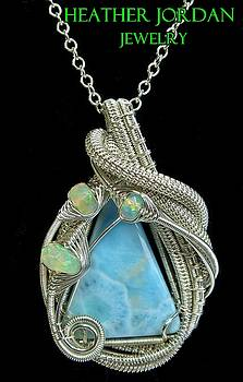 Larimar Wire-Wrapped Pendant in Sterling Silver with Ethiopian Opals and Chain - LARPSS4 by Heather Jordan
