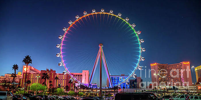 Las Vegas High Roller at Dusk Rainbow Colors Wide by Aloha Art