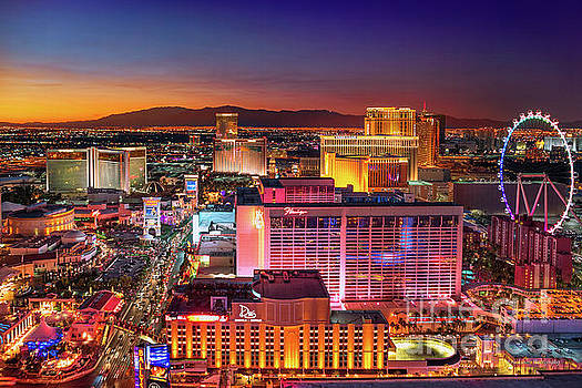 Las Vegas Strip North View After Sunset by Aloha Art