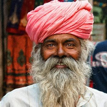 Laughing Indian man in turban by Vincent Monozlay