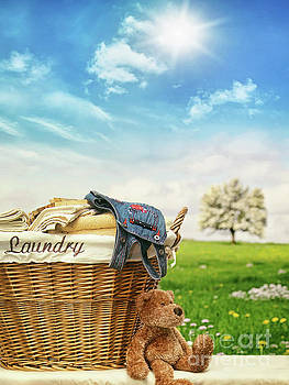 Sandra Cunningham - Laundry basket with clothes against a blue sky