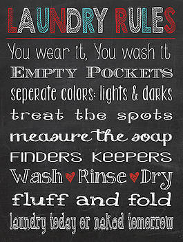 Laundry Room Rules Chalkboard Sign by Jaime Friedman