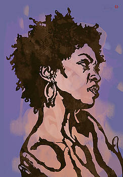 Lauryn Hill Pop Stylised Art Sketch Poster by Kim Wang