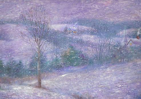 Lavender Impressionist snowscape by Judith Cheng