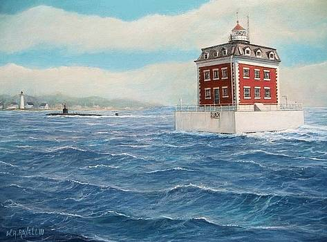 Ledge Lighthouse and submarine by William H RaVell III