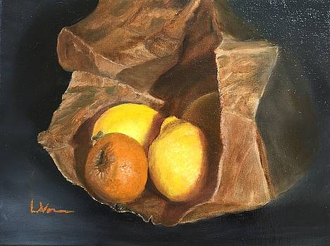 Lemons and Oranges in a paper bag by LaVonne Hand