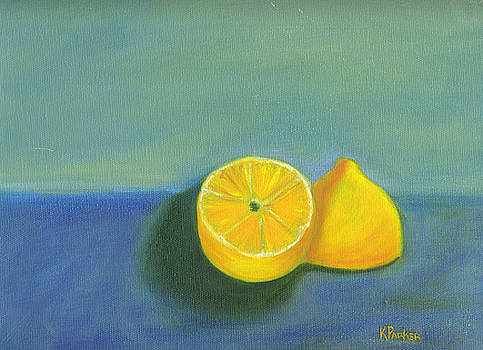 Lemons on Blue by Kelly  Parker