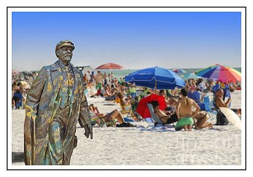 Lenin goes to the Beach White border by Larry Mulvehill