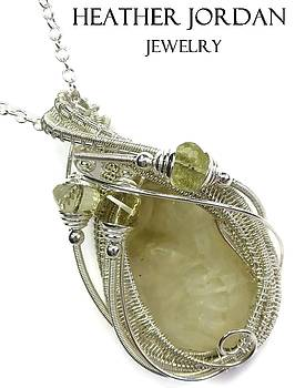Libyan Desert Glass Meteorite Impactite Wire-Wrapped Pendant in Tarnish-Resistant Sterling Silver wi by Heather Jordan