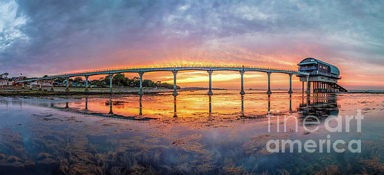 Lifeboat Station Sunset Panorama by English Landscapes