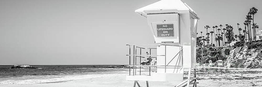 Paul Velgos - Lifeguard Tower Black and White Panorama Photo