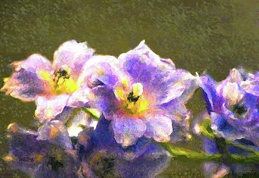 Light Blue Belladonna Delphiniums by Sandi OReilly