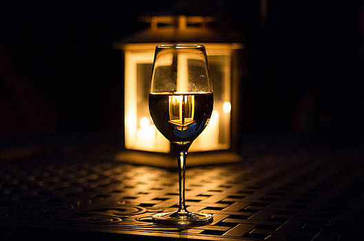Lighted Glass of Wine by Toni Thomas