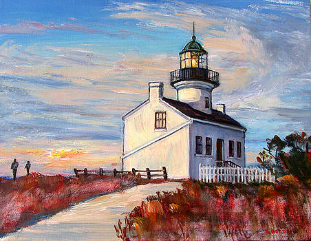 Lighthouse at Point Loma at Sunset by Robert Gerdes