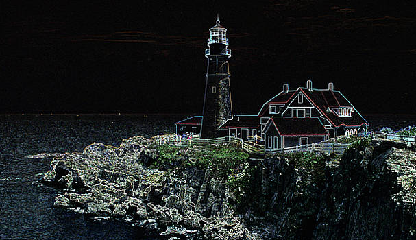 Lighthouse at Rockport in Maine by Carl Purcell