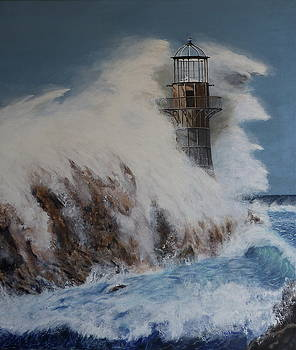 Lighthouse in a storm by David Hawkes