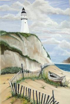 Lighthouse with abandoned Boat by Linda Bennett