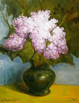 Lilacs in a Ceramic Vase by Michael Chesnakov