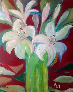 Patricia Taylor - Lilies in a Vase with Red