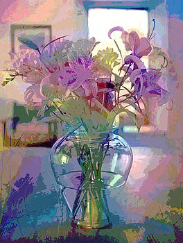 David Lloyd Glover - Lily flowers in Glass