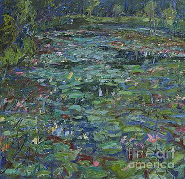 Lily Pond Dusk Lightning Bugs by Brian Mahieu