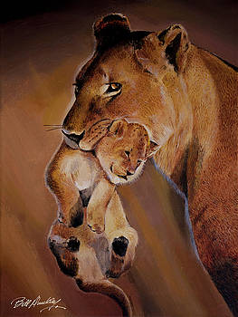 Lioness and Cub by Bill Dunkley