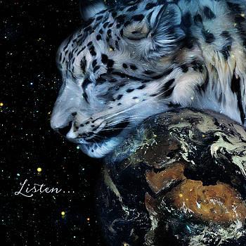 Listen - Snow Leopard Art  by Jordan Blackstone