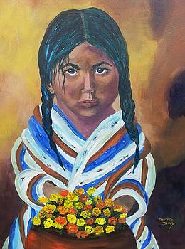 Little Indian Flower Girl by Donna Drake