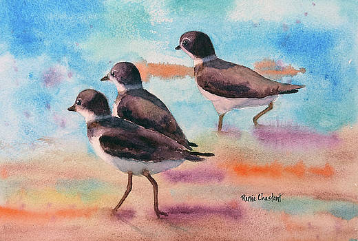 Little Legs - Piping Plovers by Renee Chastant
